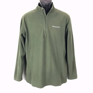 Columbia Fleece Pullover Green Stand Collar Size M